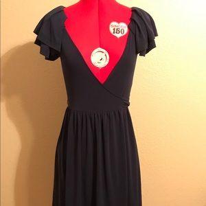 BCBGeneration V Neck Ruffle Sleeve Navy Dress